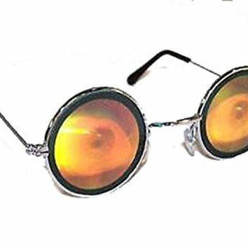 Round Eye Ball Hologram 3d Mirror Sunglasses