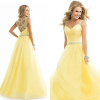 New Long Formal Prom Dress Party Ball Gown Dress Yellow