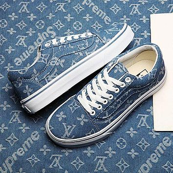 Vans X Supreme X Louis Vuitton Old Skool Popular Women Men Leisure Denim Low-top Sport Shoe Sneaker I/A