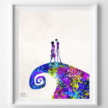 The Nightmare Before Christmas, Print, Tim Burton, Jack Skellington, Sally, Watercolor, Poster, Illustration, Halloween, Wall, Gift [NO 692]