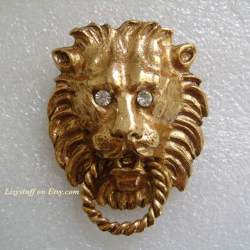 Rich Golden Color BIG CAT King of The Jungle Tiger Lion Head/Face W/Sparkling Clear Rhinestones Eyes Door Knocker Classic Vintage Pin/Brooch