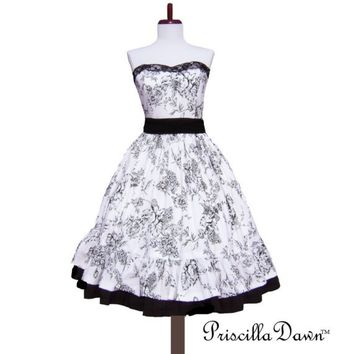 Custom in Your size White Floral Vintage Inspired Party Dress