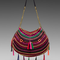 Pia Pauro Embroidered Bag With Tassels in Navy
