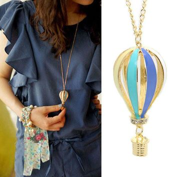 New Fashion Colorful Jewelry Aureate Drip Hot Air Balloon Pendant Long Necklace#12