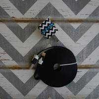 New Super Cute Jeweled White & Black Chevron Design Wall iphone 5,5s Charger + 10ft cable cord