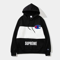 Supreme x Champion joint hoodie plus velvet pullover couple casual sweater black