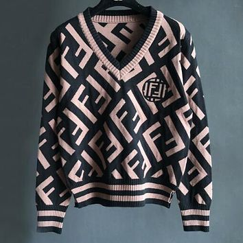 FENDI Popular Women Double F Letter Jacquard Long Sleeve V Collar Knit Thick Sweater Top Sweatshirt Black/Coffee