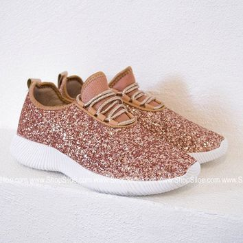 Glitter Bomb Tennis Shoe | Rose Gold