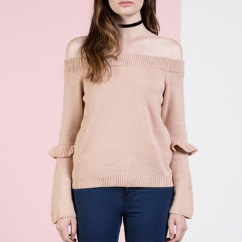 DUSTY PINK Off shoulder sweater top