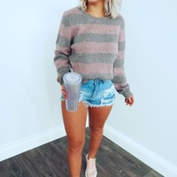 Made A Way Sweater: Grey/Dusty Pink