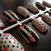 Hand-painted black and white, floral nail art set