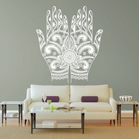 Wall Decal Vinyl Sticker Decals Art Decor Style 2 Hands together Yoga Pattern Buddha Mandala Living room Bedroom (r1315)