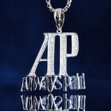 Men's Iced Out AP Always Paid Custom Pendant Box Chain