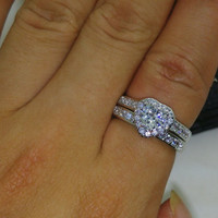 Stamped 10Kt White Gold Filled, 1CTW Heart Simulated Diamond-Grade AAA Cubic Zirconia Bridal Wedding Engagement Ring Set, Sz 5-10