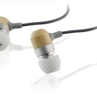 iLive iAEV82S Bamboo Earbuds with Fabric Cord, Gold Plated Connector, Mic and Volume Control Black