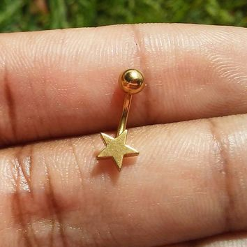 Gold Plated Stainless steel star Daith, Rook, Eyebrow ring