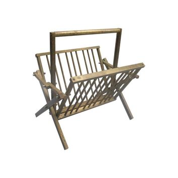 Pre-owned Mid Century Brass Folding Magazine Rack
