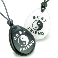 Lucky Best Friends Ying Yang White Quartz Black Agate Friendship Pendant Necklaces