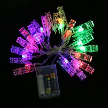 20 LEDs Photo Clip String Lights 2.2m Battery Flashing Rope Lights Wedding Party Christmas Decoration String Led Lights