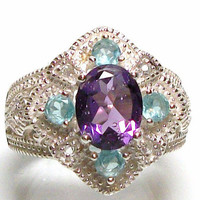 "Genuine Amethyst - and -  Genuine Blue Apatite - Accents  - set in Solid Sterling Silver - s6 -  ""Cinderella"""