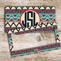 Monogrammed car license plate monogram license plate frame - Aztec tribal pattern - car tag personalized bike license plate ATV (1316)