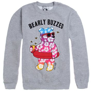 Riot Society Bearly Buzzed Crew Fleece - Mens Hoodie - Grey