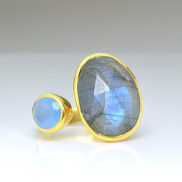 Double Stone ring, adjustable ring, Oval Labradorite ring, blue chalcedony ring, bezel set ring, labradorite jewelry large gemstone ring
