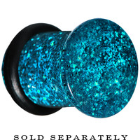 0 Gauge Blue Acrylic Ultra Glitter Plug | Body Candy Body Jewelry