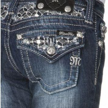 Miss Me Girls Skinny Sequin Flap Pocket Denim Jeans (sz 12, last one)