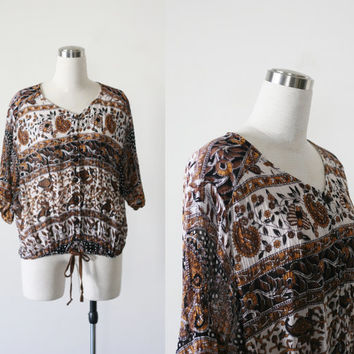 Vintage boho gauze cotton India blouse,  button down slouchy hippie top