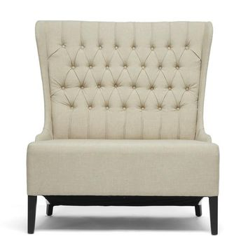 Baxton Studio Vincent Beige Linen Loveseat Bench