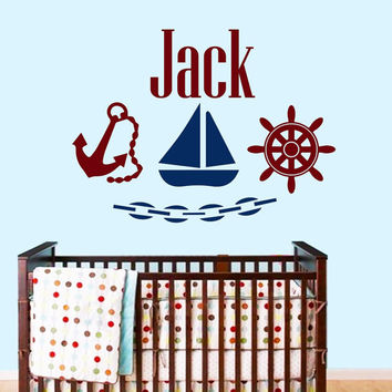 Nautical Wall Decals Personalized Name Decal  Baby Boy Bedroom Room Nursery Ship Anchor Wheel  Vinyl Sticker Custom Home Decor Murals MA286