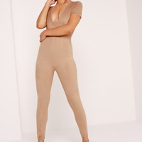 Missguided - Suede Short Sleeve Jumpsuit Nude