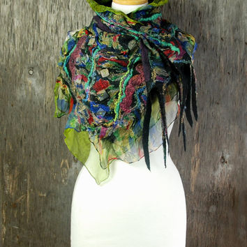 Nuno felted scarf Felted collar nuno felted neck warmers merino wool silk black green blue multicolor felt jewelry winter accessories
