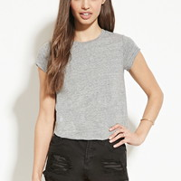 Raw-Cut Slub Knit Tee | Forever 21 - 2000186259