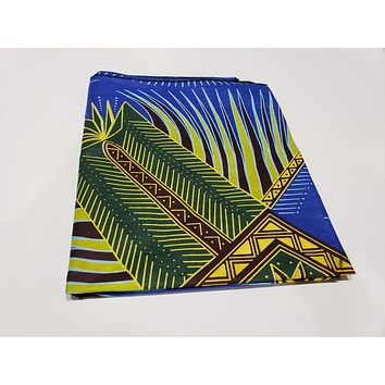 SALE - KENTE ANKARA African Print Tropical Head Wraps/Scarfs for Women - Blue, Brown and Yellow - Ethnic Tribal