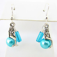 Dangle Mermaid Earrings, Aqua Pearl Earrings, Aqua Blue Mermaid Earrings, Beach Inspired Earrings, Beach Jewelry