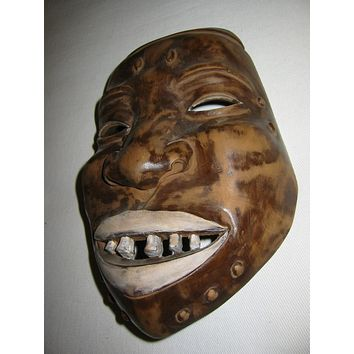 Ethnic Avant Gaard Hand Carved Folk Art African Mask