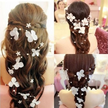 Elegant Women Bendable Pearl Flower Wedding Party Bridal Headband Tiara Headwear [7982882567]