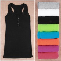 Women's Mini Cotton Sleeveless T-Shirt Tanks Ladies Vest Tops 2018 Spring Summer Round Neck Tank Tops Solid Color Camis Bodysuit