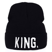 Sports Hat Cap trendy  VORON KING QUEEN Beanies Knit cap Lovers Caps Skullies Winter Hats For Men Women Beanie Outdoor Ski Sports Cap Fashion Hat Men KO_16_1