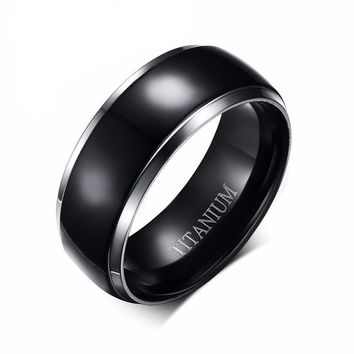 Black Titanium Rings for Men Wedding Bands Promise Rings Wedding Ring Sets