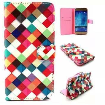 Multicolor Grid Leather Case Cover for iPhone & Samsung Galaxy-170928
