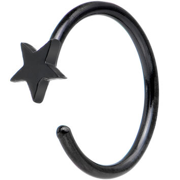 "20 Gauge 5/16"" Black IP Stainless Steel Evening Star Nose Hoop"