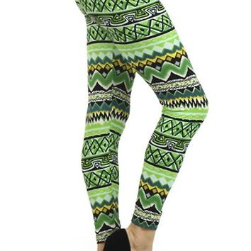 J & K Women's Ethnic Tribal Aztec Pattern Print Leggings One Size Aztec Green