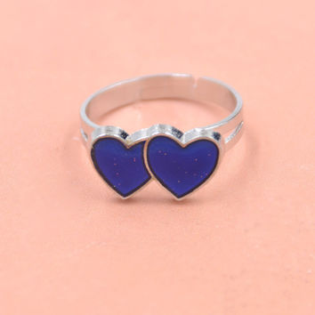 New Arrive Chic Double Hearts Ring Emotion Feeling Color Changing Mood Ring