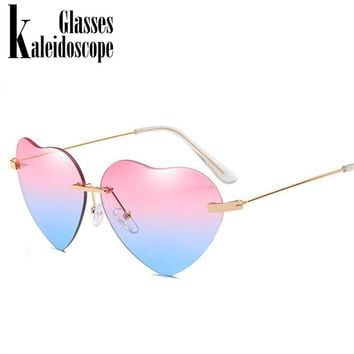 Kaleidoscope Glasses Heart Sunglasses Women Love Lolita Rimless Frame Clear Transparent Tint Sun Glasses Vintage Frameless UV400