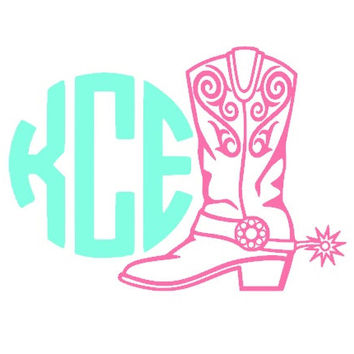 Custom Cowboy Boot Monogram Car Decal, Country Girl Decal, Hunting Vinyl Decal