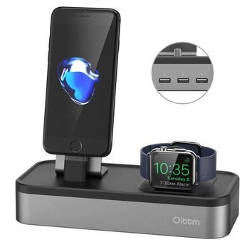 ICIK4S2 Apple Watch Series 3 Stand, Oittm [5 in 1 New Version] 5-port USB Rechargeable Stand for iWatch Series 3/2/1, iPhone X, 8, 8 Plus, 7, 7 Plus, 6, iPad Mini, iPod, Apple Pencil (Space Gray)