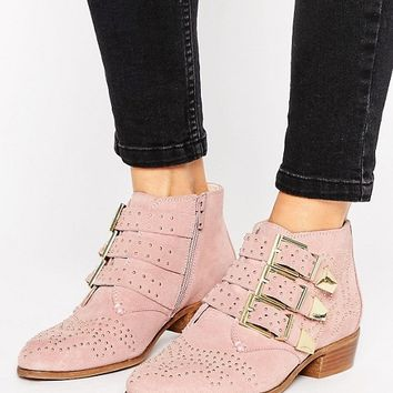Office Stud Blush Suede Ankle Boots at asos.com